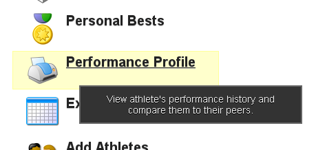 To Run a Performance Profile report that generates a unique report for each athlete as a pdf, click on Performance Profile
