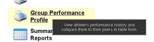 To Create a Group Performance Profile, click on the Group Performance Profile