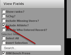"To run an anonymous Report (when the athlete's name is not included), deselect the ""Include Athlete?"" button"