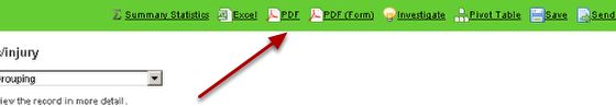 4.0 PDF will generate a pdf of the data in a table format