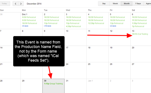 The Events from Smartabase will appear in the Calendar (note the Event Name on the 30th)