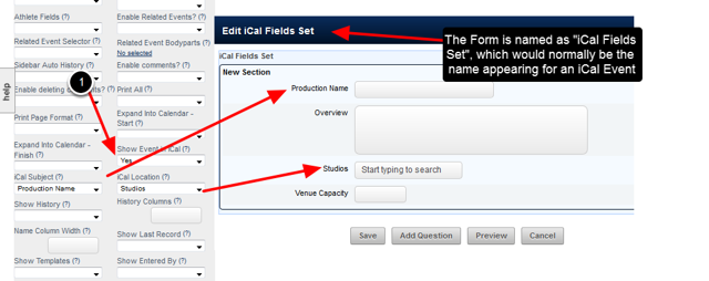 Form Advanced Properties to set iCal Name (Subject) and iCal Location