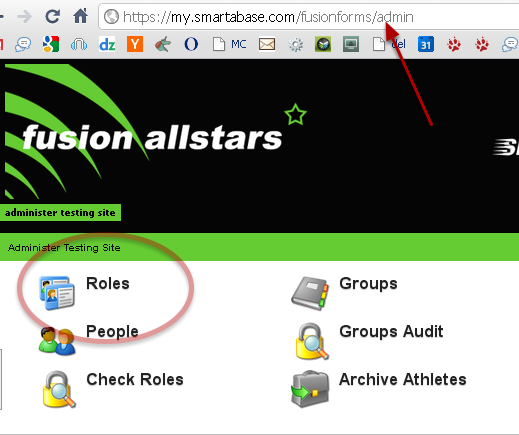 The access to each event/profile forms and the modules (e.g. Excel Reports, Athlete History Module etc) that can be used on the Application Site is set by Roles in the administration Site.