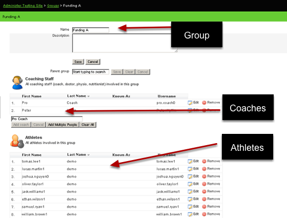 Administration Site-Groups: Each User is also assigned to be a user IN a group (athlete), or as a Coach OF a group (staff). This set whether they can access only their own data or an entire group of athlete's data.