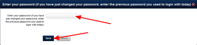 When you click Save you need to confirm these changes by entering in the password you used to login
