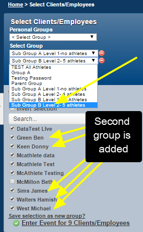 "Click on ""Add Group"" and choose an additional group. The athletes from the first group AND the athletes from the next groups are selected."