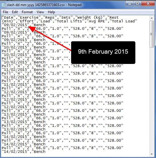 dd/MM/yyyy format opened in NotePad