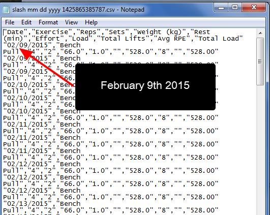 MM/dd/yyyy format opened in NotePad