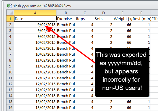 However, in this instance, the file was exported as yyyy-mm-dd, but when it is opened it appears in a non-US format
