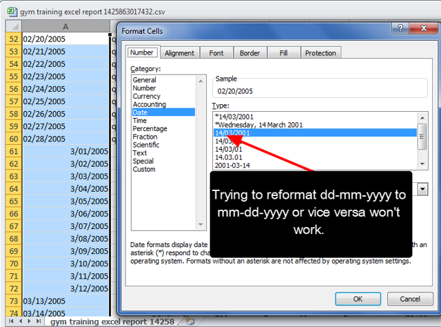 N.B. If non-US users chooses a mm-dd format, even if they reformat the date on the spreadsheet, these will not appear in the correct dd-mm format.