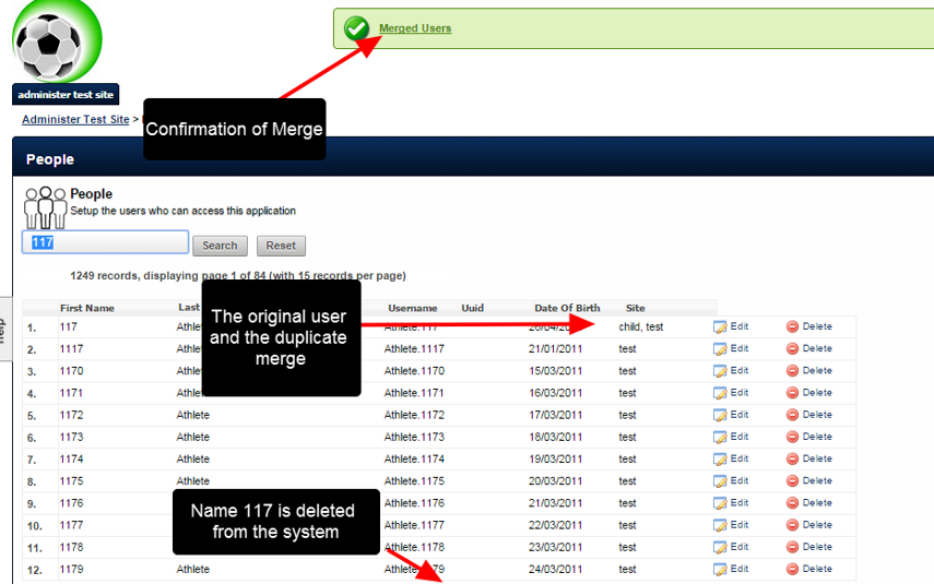 Once Merge is selected, confirmation will appear, and the duplicate will be PERMANENTLY deleted from the system