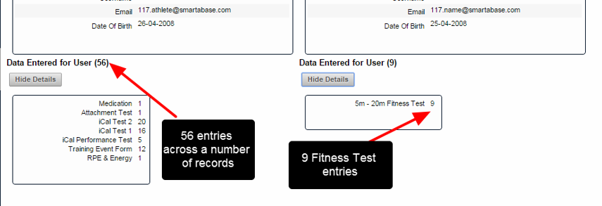 Next, investigate the data entered for both users and ensure you are merging the correct users. In this example, they both have data entered for them