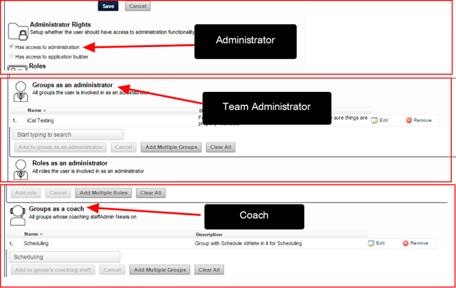 If a user is also on the system as an Administrator, Team Administrator, or Coach, an additional warning appears
