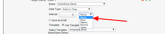 A Date Type period in hours, will provide a delay based on the number of hours that the user specified