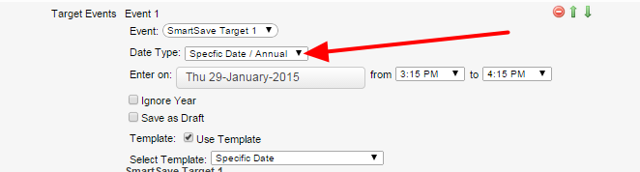 Date Type- Specific Date / Annual enables you to set a specific date and that will be adhered to. This is a one to one relationship.