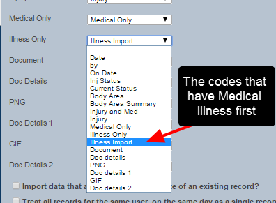 Now when the import is done, select the new import column to map to the Illness Codes