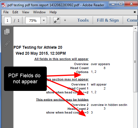 The pdf will display the entries as Form(s) and the hidden pdf fields will not appear