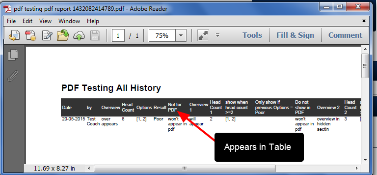 The PDF of the Athlete History Table reflects the Default Show in Table settings, NOT the PDF Advanced Field Setting.