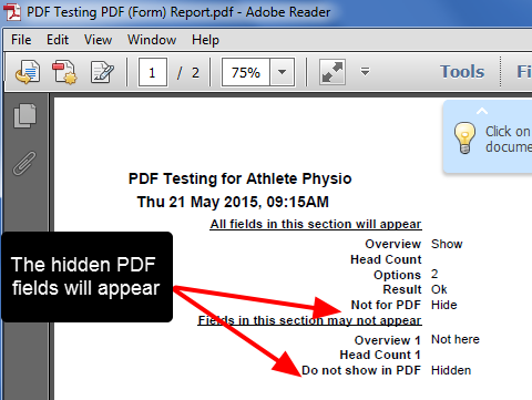 Example of the PDF visibility being overridden