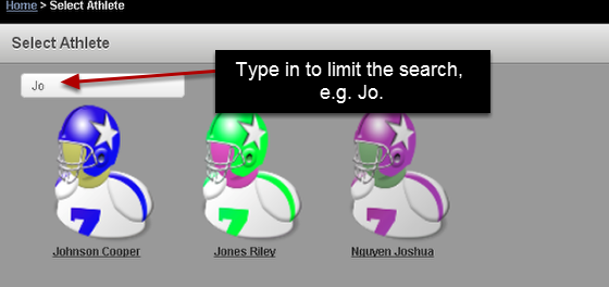 7a Application Search Box: New search box feature on the Enter data for athlete, Enter Data for Group, My Resources etc
