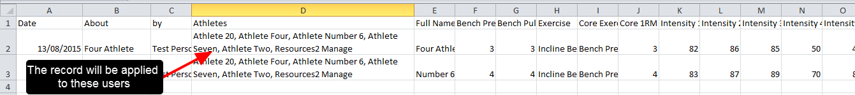 N.B. The system is essentially enabling exports and imports without having to manipulate the spreadsheet and delete extra rows of data. User can just import in two records with all of the names completed in the multiple athlete field (as shown here)