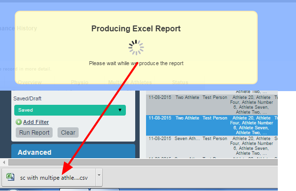 The excel report will be downloaded