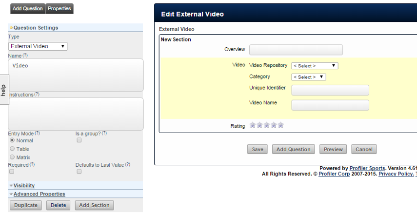 Once the field is added into the form, the video repository and categories are shown.
