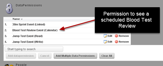1a. Calendar Permissions: You can now set permissions for a professional or an athlete to see an event that is scheduled that they don't have read/write access to