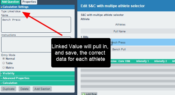 N.B. This form is built to pull in 1RM into the form. This will pull though when viewing the data for each respective athlete once the entry is saved