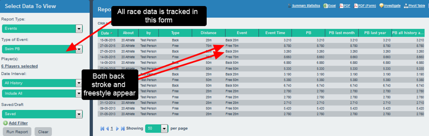 On the main application, data can be tracked for different race types and lengths on the same form.