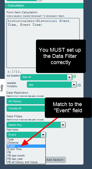 Now set the Filter options correctly to ensure that is pulls out the minimum dependent on the Event (e.g. concatenated race type and distance)