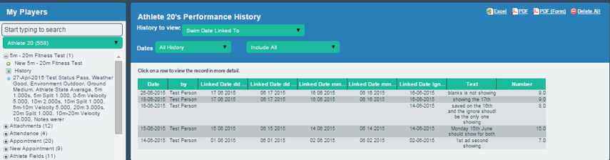 The linked fields appear in the specified format on the athlete history page as well