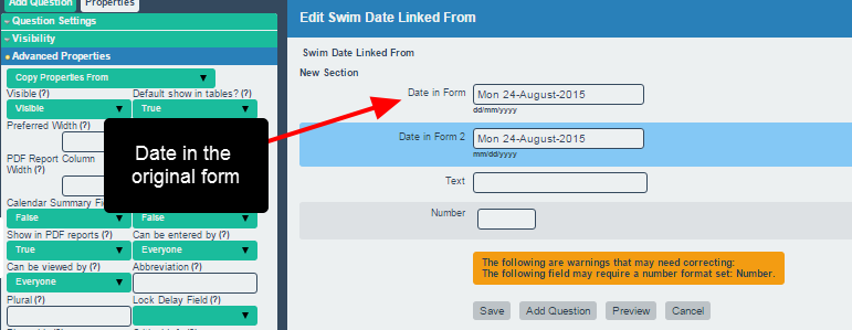 This allows a date field from one Event Form to be pulled into another Event Form.