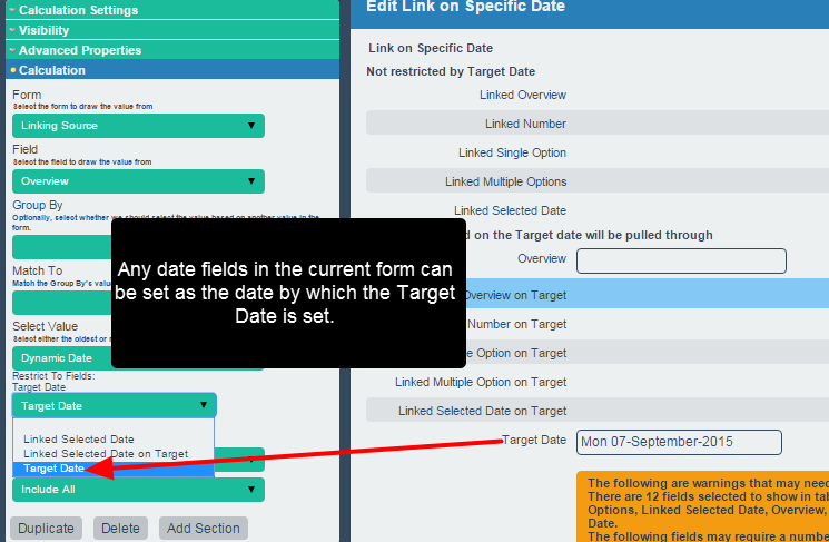 Then select the Date field in the current form that you want the linked data to match to