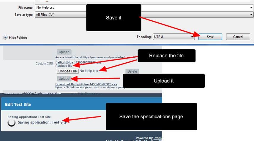 Update the css file and upload it back to the application specification
