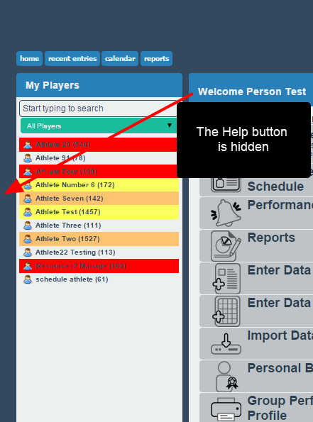 The Help button will be hidden from view for the users
