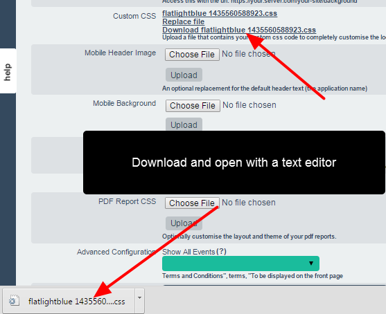 Download the css file from the Application Specification