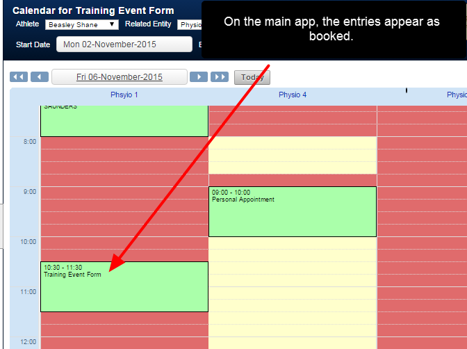 These times appear as booked on the main system when scheduling in additional entries for that Related Entity option