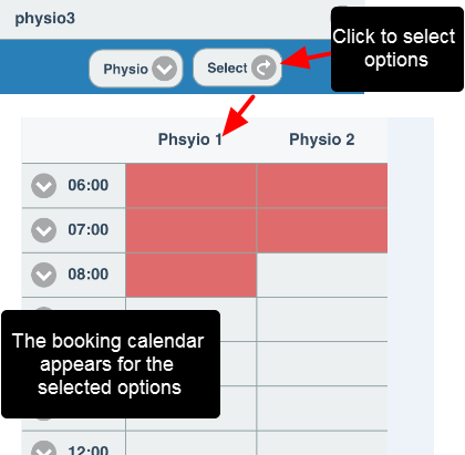 "Once the desired Related Entity options are selected, click ""Select"" and the booking screen will be available."