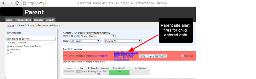 The data also flows to the parent site, AND the alert set up on the parent site is fired. So even though the coach on the parent site is NOT a user on the child site, because they have access to the Shared Medical form AND the athlete, the alert fires.