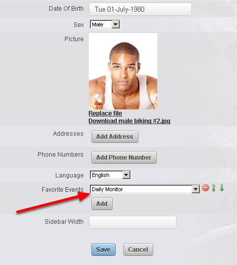 A user can set up their own favourites using their account settings and adding a favourite (as shown here)