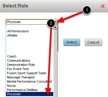 You need to select the Role that you want to apply these favourites to. The example here shows that the Injury and Illness Events are being set up for the Physician Role