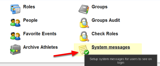 "On the Admin Home Page click on ""System messages"""