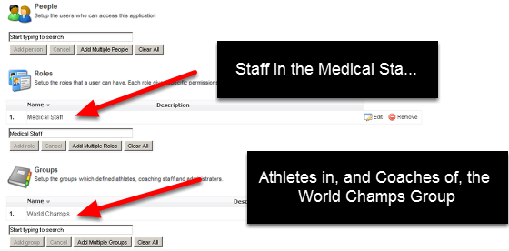 The example here shows that we are going to set up the message to all Athletes and Coaches who are going to the world champs