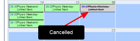 The entry appears as cancelled on the Calendar