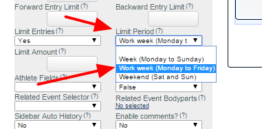 Once Limit entries is selected,  the Limit Period and Limit Amount fields appear. For the Limit Period, it can be set based on either Week, Work week or Weekend.  Think VERY carefully about what limit you need.