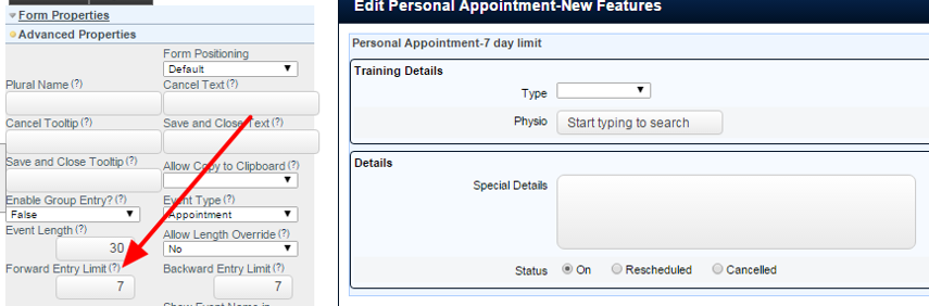 New Forward Entry Limit in the Advanced Form Property (this only shows on Appointments and Schedule Forms)