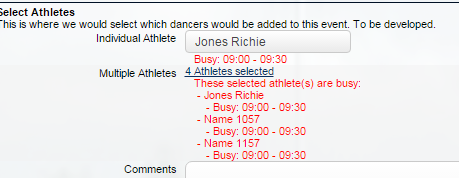 A list of conflicts also appear below the multiple athletes fields once they are selected.