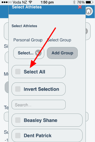 The Athlete Selector appears (this works exactly the same as the group selector on the main system)