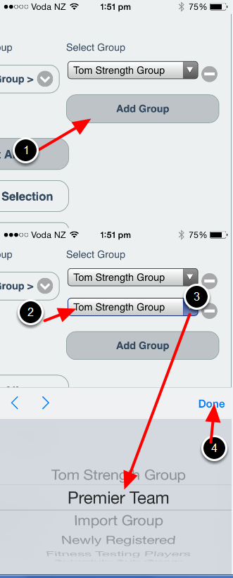 You will need to scroll to the right of the page to access this on iOS, but any groups will appear for selection